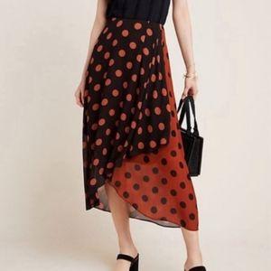 Anthropologie Maeve Polka Dot Wrap Midi Skirt